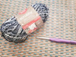 Red heart scrubby yarn Marble