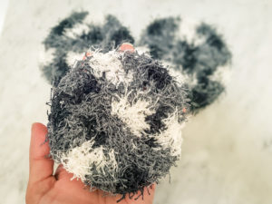 Black and white textured crochet dish scrubbies
