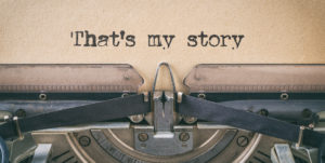 Text written with a vintage typewriter - That's my story