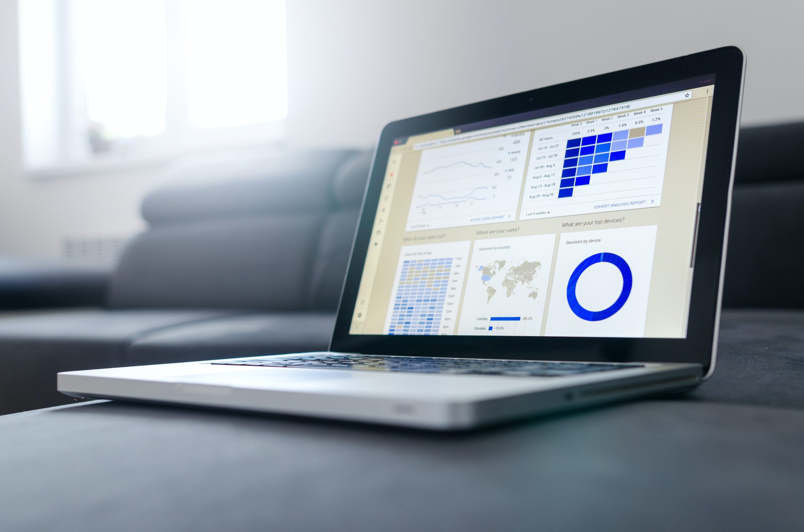 new blog traffic analytics, computer with statistics