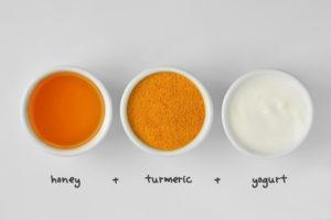 turmeric, honey and yogurt homemade face mask ingredients